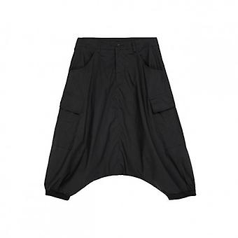 High Elastic Waist Loose Black Pocket Split Joint Harem Pants