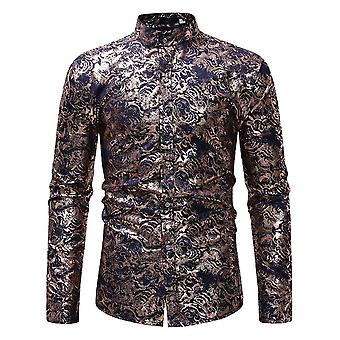 Allthemen Men's Stand Collar Floral Slim Fit Casual Long Sleeve Shirt