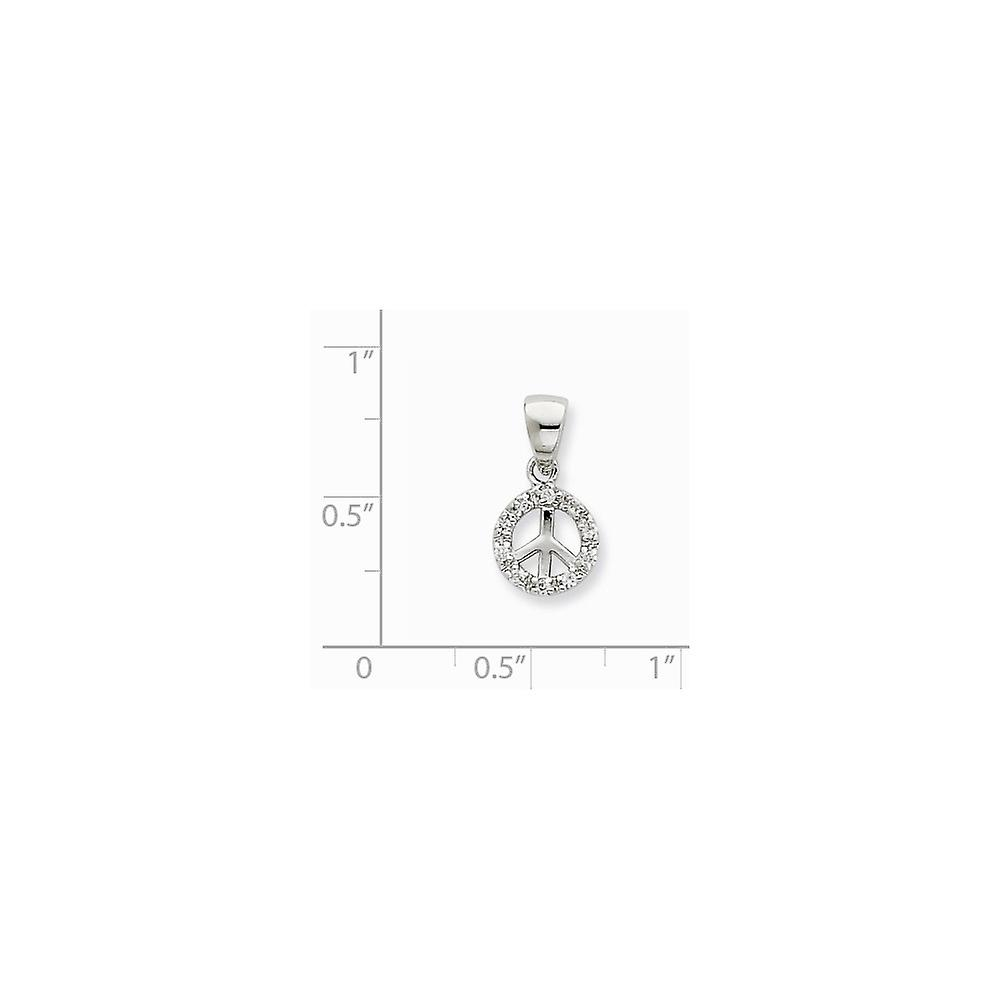 925 Sterling Silver Polished Rhodium plated Small CZ Cubic Zirconia Simulated Diamond Peace Pendant Necklace Jewelry Gif