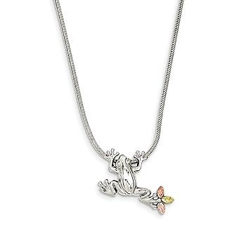 925 Sterling Silver Gift Boxed Polished and satin Lobster Claw Closure and 12k Frog Slide Necklace 20 Inch Jewelry Gifts