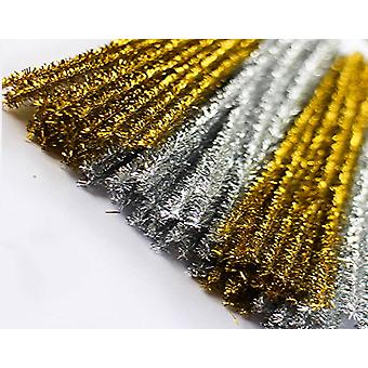 50 Gold & Silver 8mm Tinsel Extra Long 50cm Pipe Cleaners | Glitter Pipecleaners