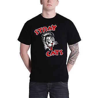 Stray Cats T Shirt Cat band Logo new Official Mens Black