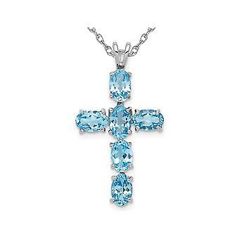 Swiss Blue Topaz Cross Pendant Necklace 3.00 Carat (ctw) in Sterling Silver