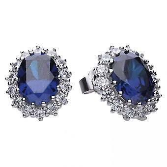 Diamonfire Silver Blue Zirconia Floral Shape Earrings E5586