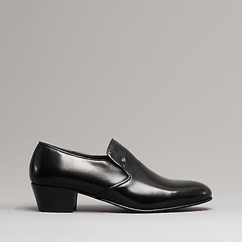 Club Cubano Bilbao Mens Soft Leather Plain Cuban Heel Shoes Black