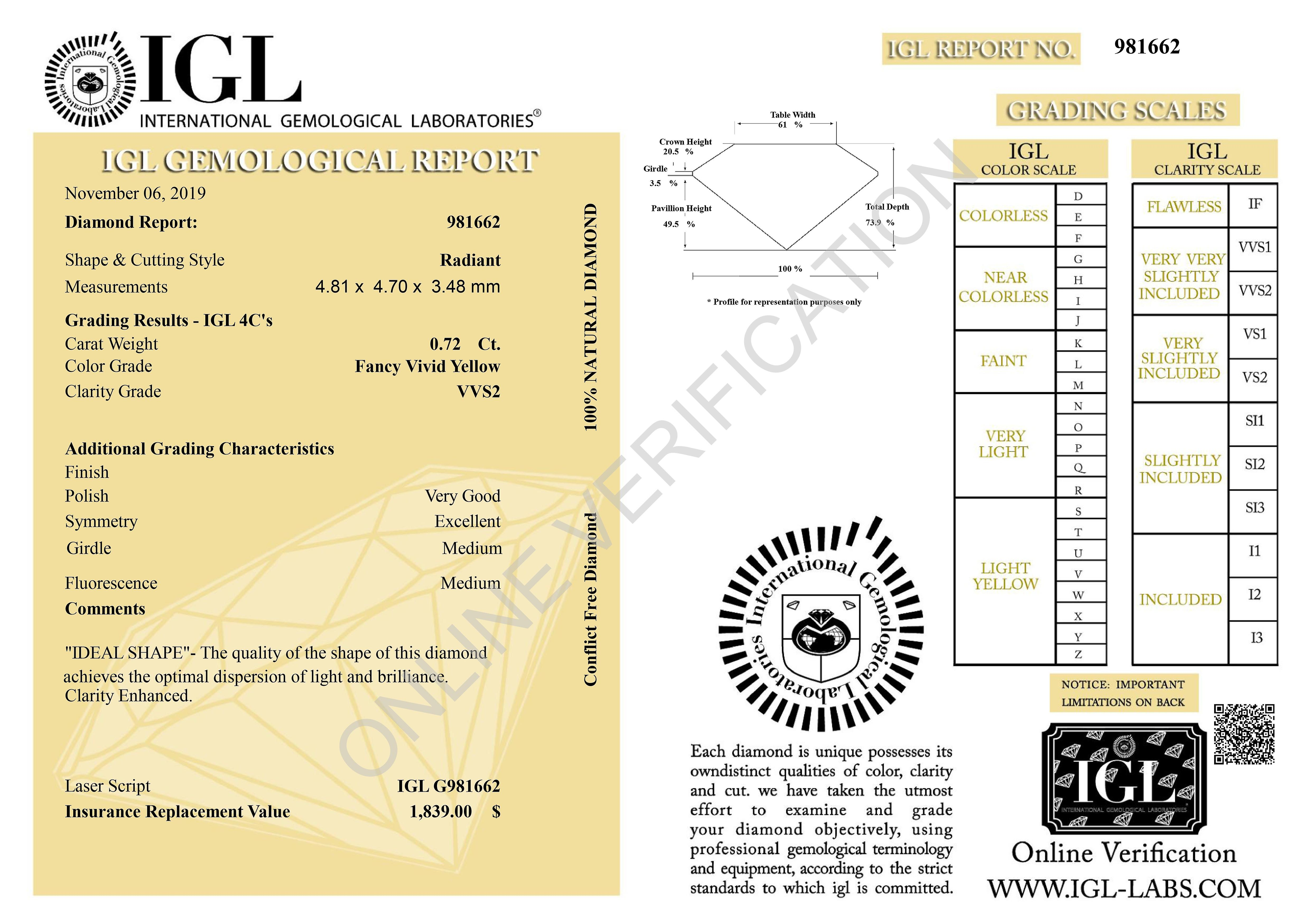 Cert 0.72 Carat Vivid Yellow VVS2 Radiant Enhanced Natural Diamond 4.81x4.7mm