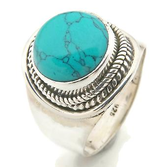Turquoise Ring 925 Silver Sterling Silver Silver Women's Ring Blue Green (IRM 96-15)