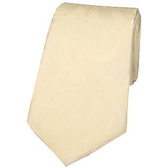 David Van Hagen Rose Wedding Silk Tie - Cream