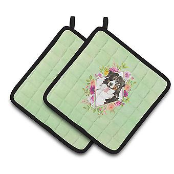 Bernese Mountain Dog Green Flowers Pair of Pot Holders