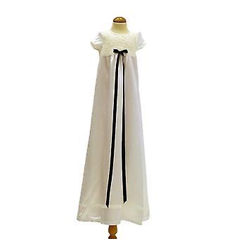 Dopklänning I Off White Med Kort ärm, Smal Mörk Blå Rosett