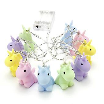 Einhorn Lichterkette pastell  pastellfarben, aus Kunststoff, batteriebetrieben, in Geschenkverpackung.