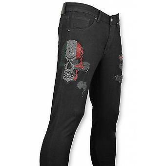 Skinny Jeans - Trousers - Skull Color Black
