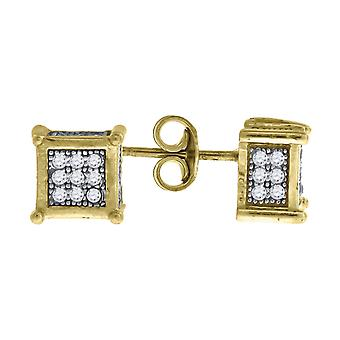 10k Two tone Gold Mens CZ Cubic Zirconia Simulated Diamond Cubic Zirconia Square Stud Earrings Measures 7.1x7.10mm Wide