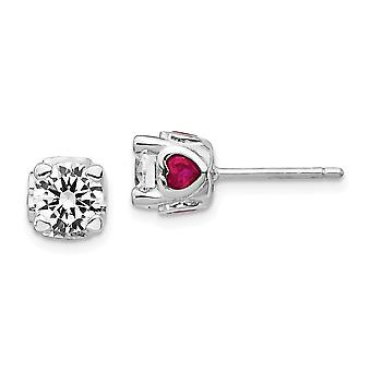 6mm Cheryl M 925 Sterling Silver Cubic Zirconia With Simulated Ruby Love Hearts Post Earrings Jewelry Gifts for Women