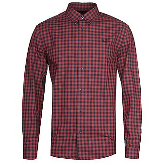 Fred Perry Langarm rot kariert Gingham Shirt