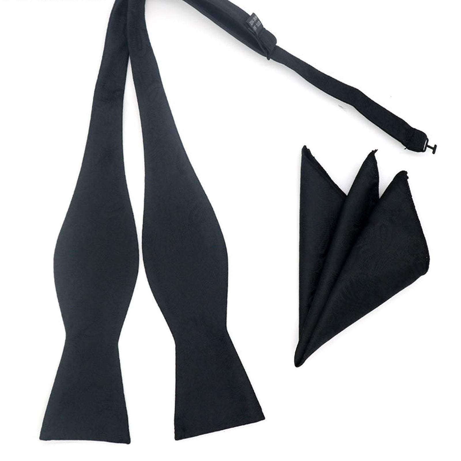 Black paisley funeral self tied bow tie & pocket square