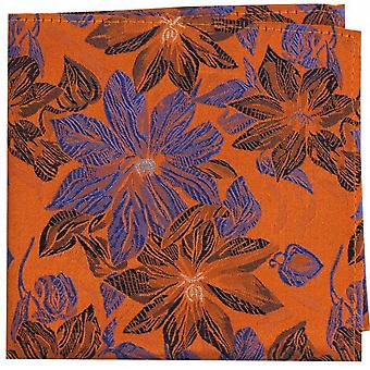 Posh and Dandy Large Flowers Silk Pocket Square - Purple/Blue