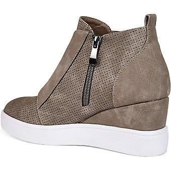 Brinley Co. Womens Clayre Athleisure Laser-Cut Side-Zip Sneaker Wedges Taupe,...
