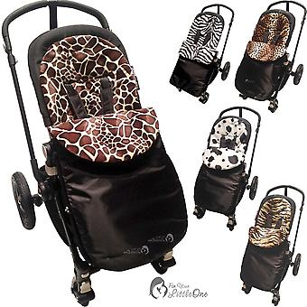 Universal Animal Print Padded Pushchair Footmuff / Cosy Toes - Fits All Pushchairs / Prams And Buggies