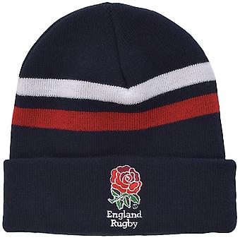 Official England Rugby RFU Juniors Cuff Beanie Winter Knitted Hat - Navy/Red