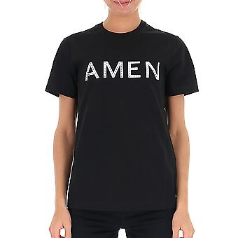 Amen Amw19224009 Frauen's schwarze Baumwolle T-shirt