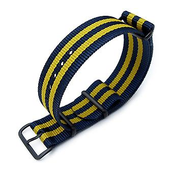 Strapcode n.a.t.o watch strap miltat 18mm, 20mm or 22mm g10 military watch strap ballistic nylon armband, pvd - double yellow and blue