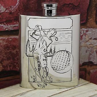 Golfer Pewter Hip Flask - 6oz