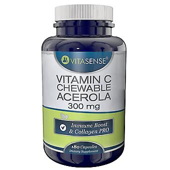 VitaSense Chewable Acerola Vitamin C 300 Mg - Immune Boost & Collagen PRO - 60 Tablets