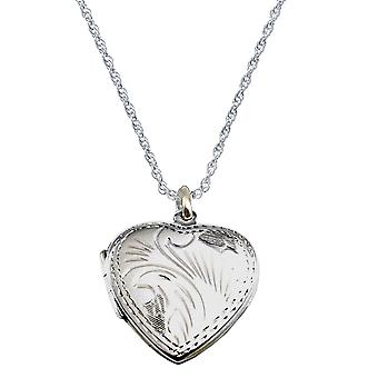 """The Olivia Collection Sterling Silver 22mm Engraved Heart Locket on18"""" Chain"""