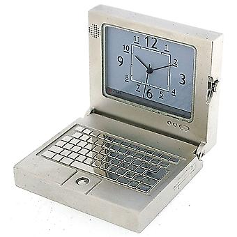 GTP Miniature Novelty Silver Plated Laptop PC Desktop Collectors Clock IMP1001S