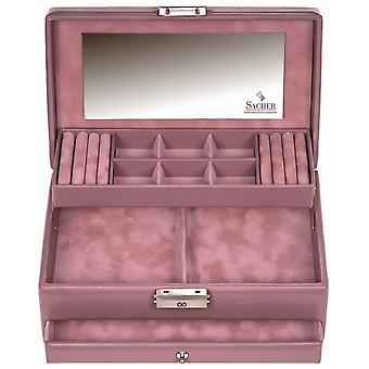 Sacher sieraden geval sieraden doos PASTELLO oude rosé kasteel spiegel lade