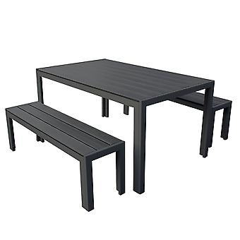 3 Piece Polywood Outdoor Dining Table Bench Set Durable Aluminium Frame