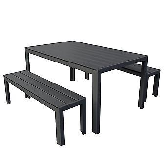 3 stykke polywood utendørs spisebord benk sett holdbar aluminiumramme
