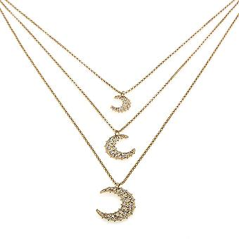 Necklace With 3 Moon Pendants in Bronze With Swarovski Crystals