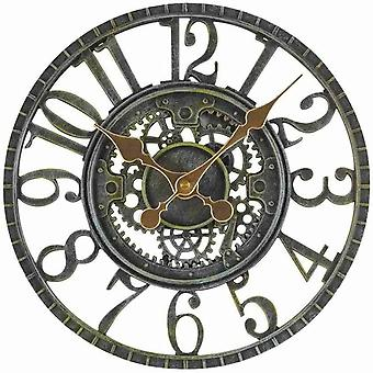 "Outdoor/Indoor Garden Wall Clock 12"" Mechanical Metal Clock Face Frame"