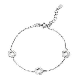 "ELANZA 1.02 Ct Cubic Zirconia CZ Charm Bracelet Sterling Silver Sz 6.75"" 1"""