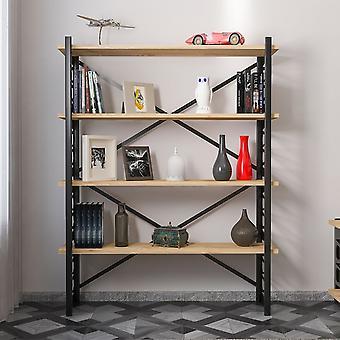 Libreria Loop Color Rovere, Nero in Truciolare Melaminico, Metallo 120x35x148,5 cm