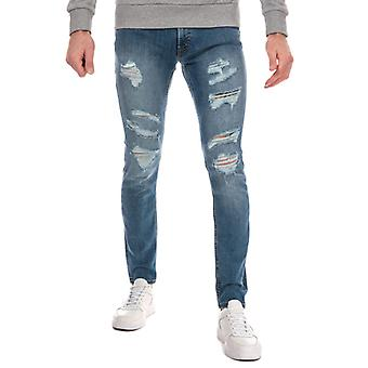 Hommes's Jack Jones Liam 506 Ripped Skinny Fit Jean en bleu