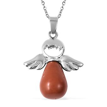 Rode Jasper Stainless Steel Wings Ketting Hangketting voor dames, 22 Ct TJC