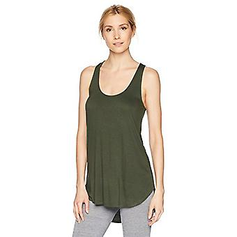 Brand - Mae Women's Loungewear Racerback Tank Top, Forest Green, Medium