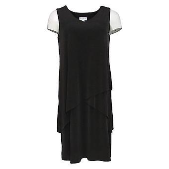 Susan Graver Petite Dress Liquid Knit Sleeveless Tiered Black A377871