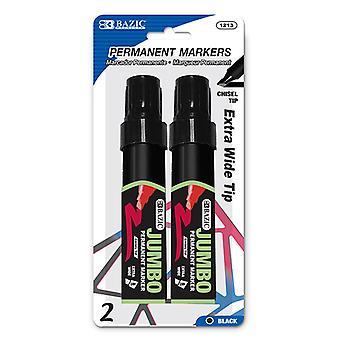 1213-24, BAZIC 8 mm Jumbo Chisel Tip Permanent Marker (2/Pack)