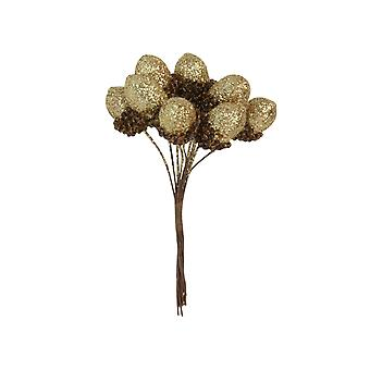 10 Small Gold Glittered Artificial Acorn Picks for Christmas Floristry