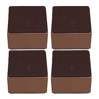 4pcs 80x52mm Carbon Steel Brown Furniture Legs Lifter Self Adhesive Brown