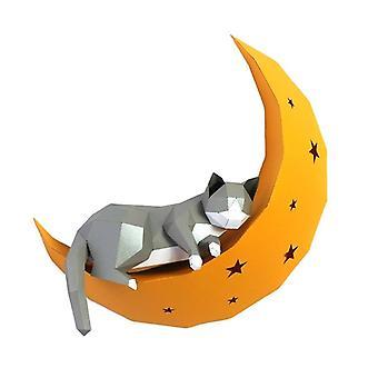 3d katt på månen animal papir vegg kunst skulptur modell leketøy for hjemme innredning (som bilde)