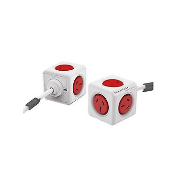 Allocacoc Powercube Extended 5 Outlets 3M Red