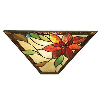 1 Light Indoor Wall Uplighter Bronze foncé avec tiffany glass, E14