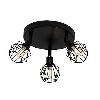 BRILLIANT Lampe Noris LED Spotrondell 3flg sort | 3x LED-T14, G9, 3W LED pære medfølger ( 350lm, 3000K) | Skala