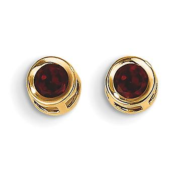 14k Yellow Gold 4mm Bezel January Garnet Post Earrings