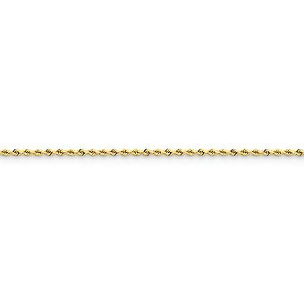 14k Yellow Gold Solid Lobster Claw Closure 2mm Sparkle Cut Rope with Lobster Clasp Chain Bracelet - Length: 6 to 8